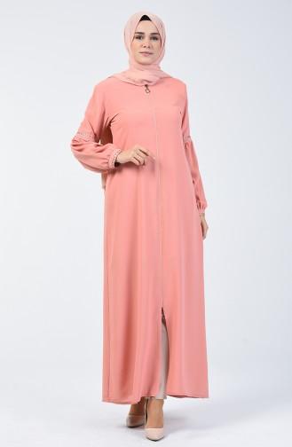 Abaya Brodée à Manches Ballon 5015-02 Poudre 5015-02