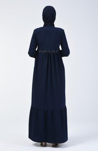 Abaya Guipure 5036-04 Bleu Marine 5036-04