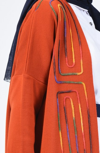 Triko Şeritli Hırka 4906-02 Kiremit