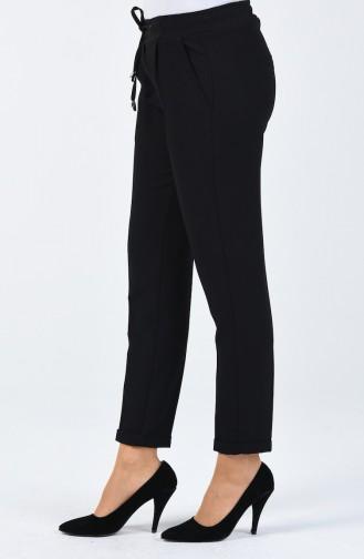 Cepli Düz Paça Pantolon 3152-01 Siyah