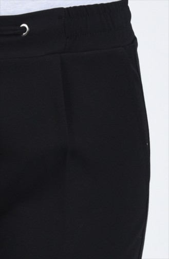 Cepli Düz Paça Pantolon 3152-01 Siyah 3152-01