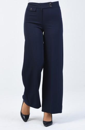 Cep Detaylı Bol Paça Pantolon 3153-01 Lacivert 3153-01