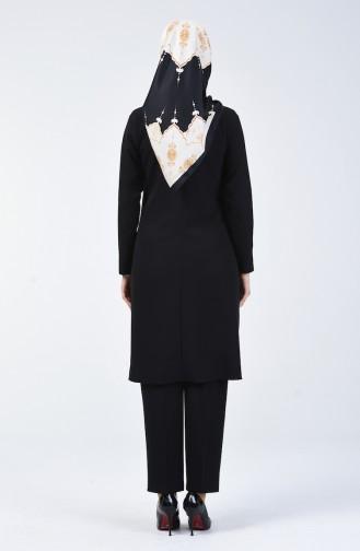 Düğme Detaylı Tunik Pantolon İkili Takım 5526-01 Siyah