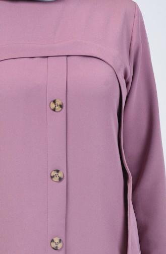 Düğme Detaylı Tunik Pantolon İkili Takım 5526-02 Lila