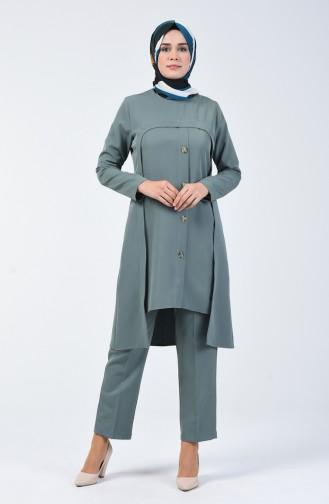 Düğme Detaylı Tunik Pantolon İkili Takım 5526-03 Çağla Yeşili