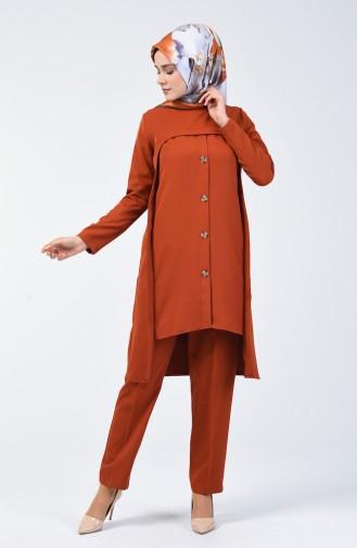 Düğme Detaylı Tunik Pantolon İkili Takım 5526-04 Bakır