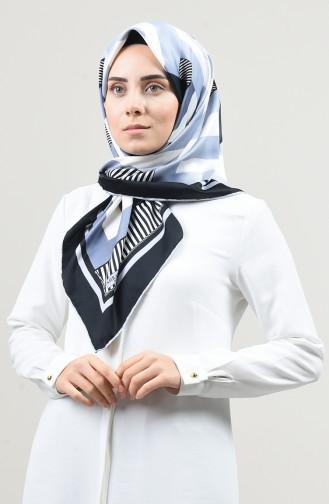 Desenli Rayon Eşarp 2457-20 Gri Siyah
