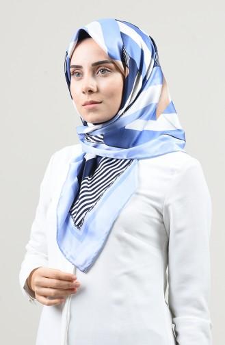 Desenli Rayon Eşarp 2457-23 Bebek Mavisi