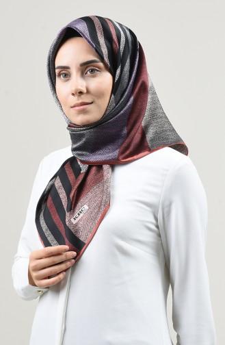 Karaca Desenli Rayon Eşarp 90665-10 Pudra Siyah