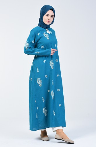 Printed Long Tunic Turquoise 0060-05