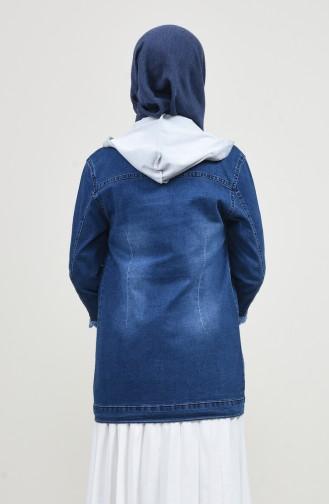 Kapüşonlu Kot Ceket 7001-01 Lacivert