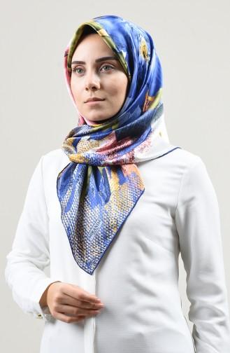 Desenli Rayon Eşarp 2408-13 İndigo