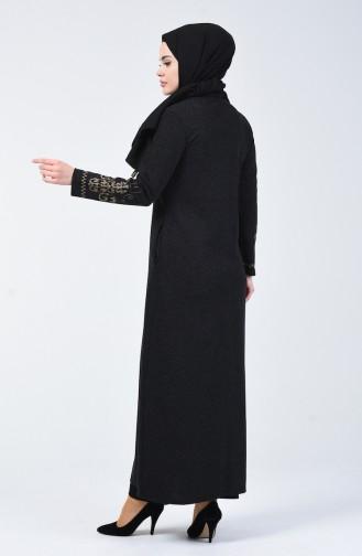 Nakışlı Ferace 5127-02 Siyah