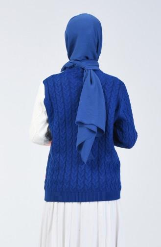 Triko Örgü Desen Kazak 4902-02 Saks Mavi