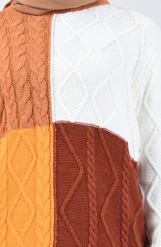 Triko Örgü Desen Kazak 4902-03 Taba Kayısı Rengi