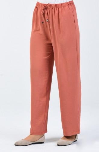 Aerobin Kumaş Beli Lastikli Pantolon 0054-07 Soğan Kabuğu