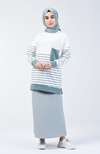 Sweatshirt à Rayures   0811-01 Vert Noisette 0811-01