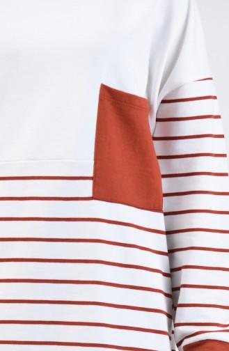 Sweatshirt à Rayures 0811-02 Brique 0811-02