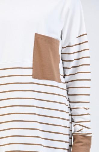 Sweatshirt à Rayures 0811-03 Café au Lait 0811-03