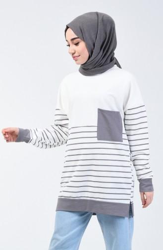 Sweatshirt à Rayures 0811-04 Gris 0811-04