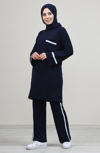 Yarasa Kol Tunik Pantolon İkili Takım 8138-01 Lacivert 8138-01