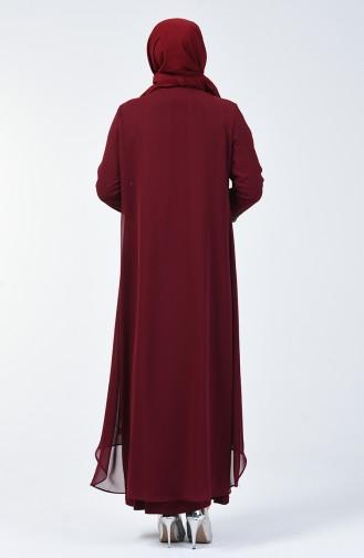 Büyük Beden Takım Görünümlü Taşlı Abiye Elbise 0001-01 Bordo