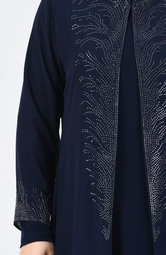 Büyük Beden Takım Görünümlü Taşlı Abiye Elbise 0001-02 Lacivert