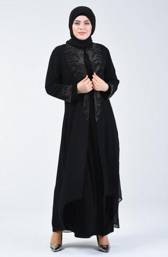 Büyük Beden Takım Görünümlü Taşlı Abiye Elbise 0001-03 Siyah