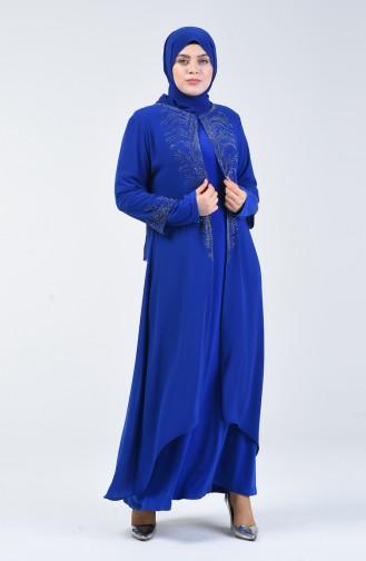 Büyük Beden Takım Görünümlü Taşlı Abiye Elbise 0001-05 Saks 0001-05