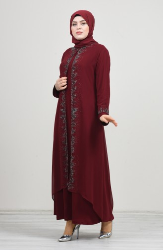 Büyük Beden Takım Görünümlü Abiye Elbise 0002-01 Bordo