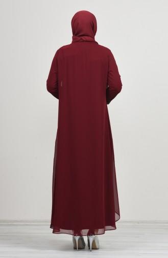 Büyük Beden Takım Görünümlü Abiye Elbise 0002-01 Bordo 0002-01