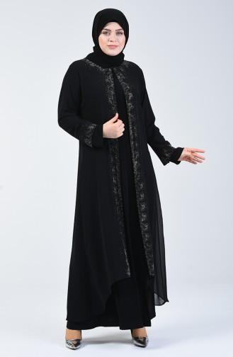 Büyük Beden Takım Görünümlü Abiye Elbise 0002-02 Siyah
