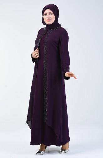 Büyük Beden Takım Görünümlü Abiye Elbise 0002-03 Mor 0002-03