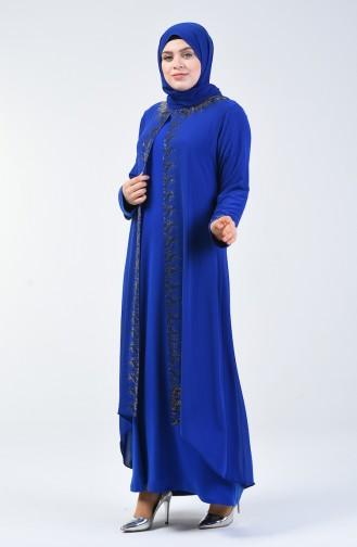 Büyük Beden Takım Görünümlü Abiye Elbise 0002-04 Saks