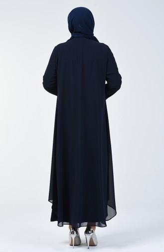 Büyük Beden Takım Görünümlü Abiye Elbise 0002-05 Lacivert