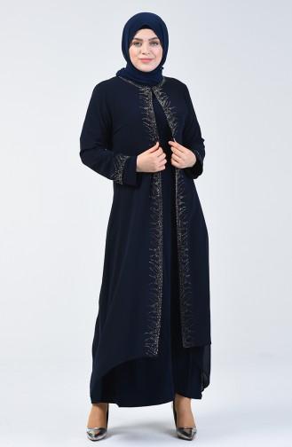Robe de Soirée  İmprimée de Pierre Grande Taille 0003-01 Bleu Marine 0003-01