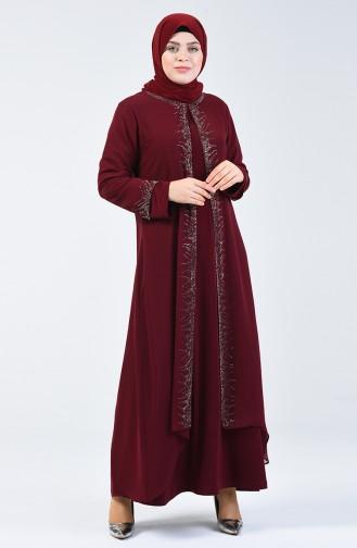 Büyük Beden Taşlı Abiye Elbise 0003-02 Bordo