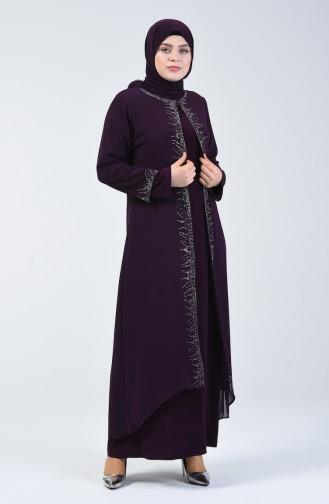 Büyük Beden Taşlı Abiye Elbise 0003-04 Mor