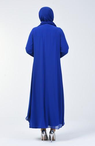 Büyük Beden Taşlı Abiye Elbise 0003-05 Saks