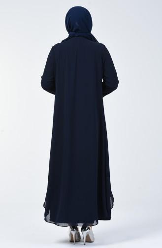 Robe de Soirée  İmprimée de Pierre Grande Taille 0004-02 Bleu Marine 0004-02