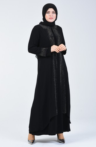 Büyük Beden Taş Baskılı Abiye Elbise 0004-03 Siyah