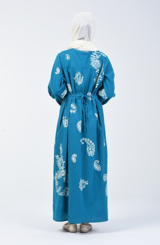 Patterned Cotton Gauze Dress 0004-12 Turquoise 0004-13