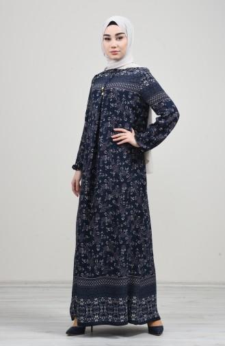 Kolu Lastikli Desenli Elbise 8169-02 Lacivert