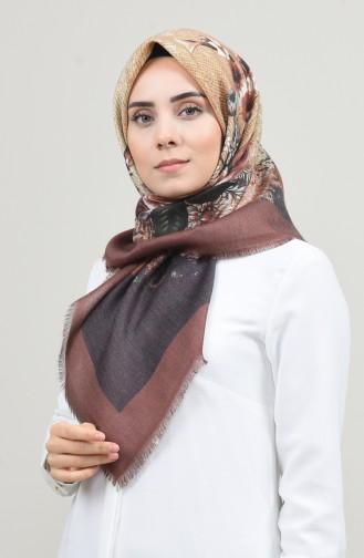 Dijital Baskılı Dubai Kaşmir Eşarp 901593-06 Kahverengi