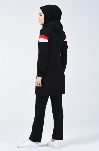 بدلة رياضية بقبعة أسود 95175-03