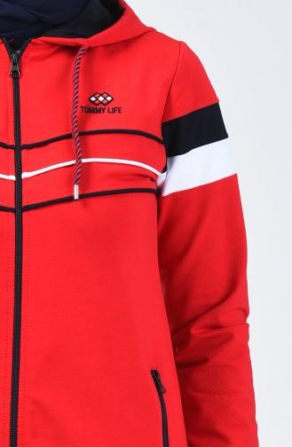 بدلة رياضية بقبعة أحمر 95175-04