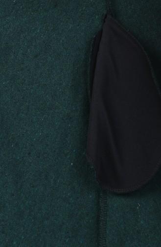 Kürklü Kaşe Kaban 5091A-01 Zümrüt Yeşil 5091A-01