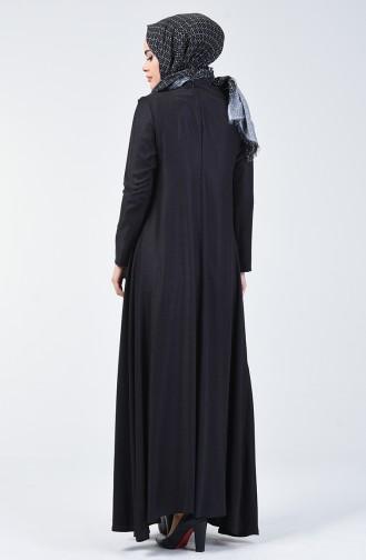 Robe en Viscose de Laine Détail Plissé 3139-01 Bleu Marine 3139-01
