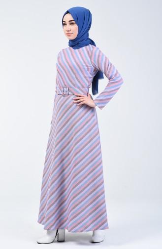Kemerli Kışlık Elbise 5013-02 Lila