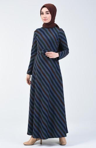 Kemerli Kışlık Elbise 5013A-01 Lacivert